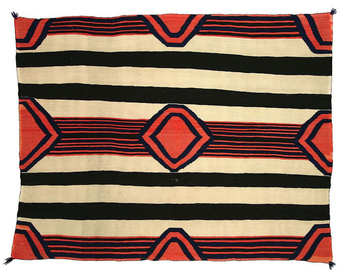 Navajo Late Classic 3rd Phase Chiefs Blanket Indigo and Raveled Flannel