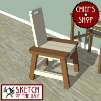 Sketch of the Day: Simple Kitchen Desk Chair #woodworking