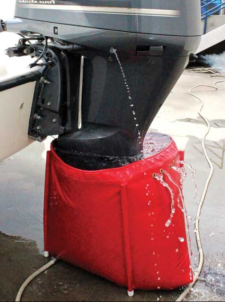 Flushing an outboard engine