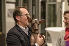 Pedro Santiago Allemant – Movie Director and Nieva Taysha Pazzda - Peruvian Hairless Dog of Eva Linhartová. Photo by Alessandro Pucci