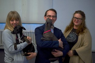 Julie Podařilová (Royal Bernadot Kennel), Pedro Santiago Allenant (Movie Director), Daniela Podařilová (Royal Bernadot Kennel) and Peruvian Hairless Dogs (coated and hairless type from the Royal Bernadot Kennel, Czech Republic). Photo by Alessandro Pucci