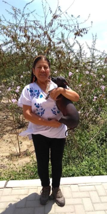 Consuelo Salas Valladolid – Asist. en Serv. de Educación y Cultura – Universidad Nacional Pedro Ruiz Gallo, Lambayeque y ejemplar Perro sin Pelo del Perú de Túcume.