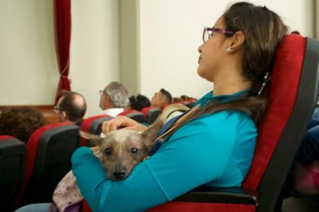 Participante de Túcume a la conferencia con su ejemplar Perro sin Pelo del Perú.