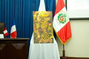 Pintura del artista plástico Juan Carlos Ñañaque Torres inspiradas en el Perro sin pelo del Perú. Photo by Favio Jordi Martínez Nuntón / appp – adpp ©2018