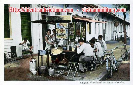 Xe mì Tàu thời Pháp ở đường Boulevard Galliéni nay là Trần Hưng Đạo năm 1943 - Chinese noodle tavern in Sai Gon 1943