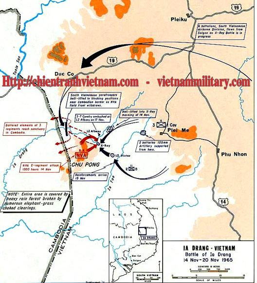 Bản đồ trận Ia Drang trong trận đánh Pleime 1965 trong chiến tranh Việt Nam - Battle of Ia Drang map in battle of Plei Me 1965 in Viet Nam war
