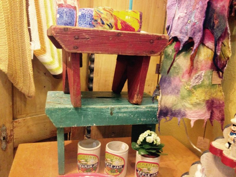 Primitive red and green stools