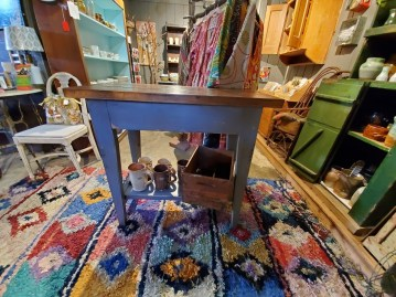 Blue handmade rustic table