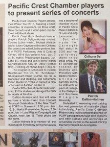 Article about classical concert on After Five