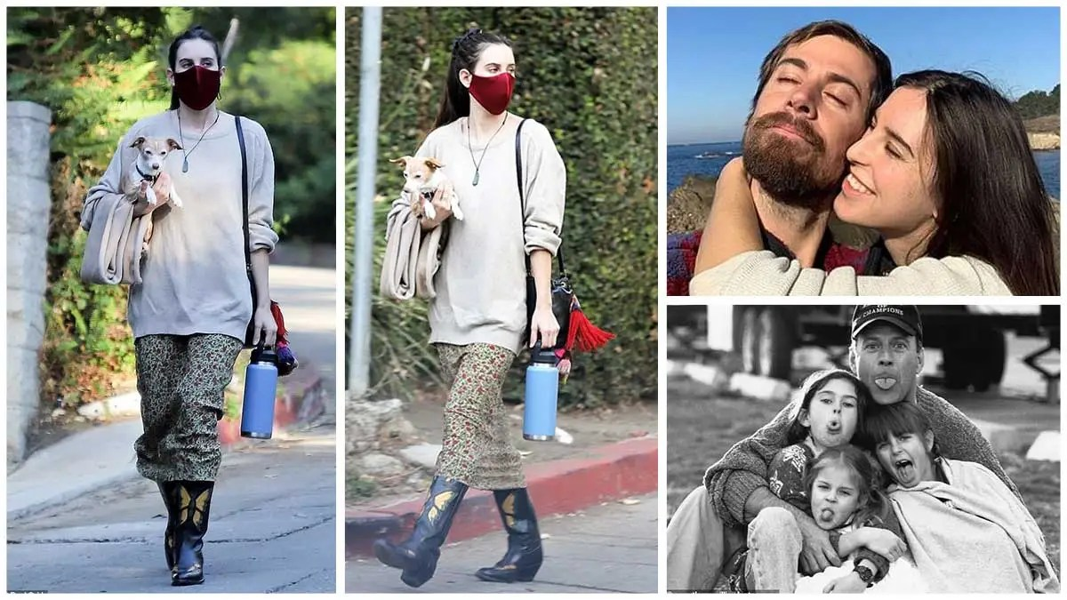 Scout Willis looks stylish in a skirt and sweater ensemble while out and about with her beloved rescue dog Grandma