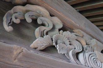 福岡県みやま市瀬高町大江 若宮神社本殿の彫刻 波 花 植物