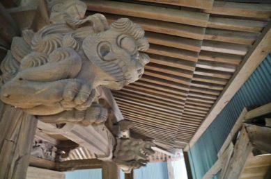 福岡県みやま市瀬高町大江 若宮神社本殿の彫刻 獅子 阿吽