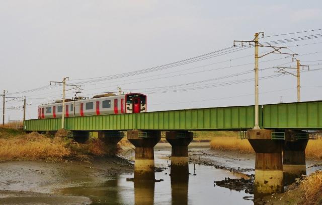 福岡県みやま市 JR飯江川橋りょう 線路 電車 鉄橋