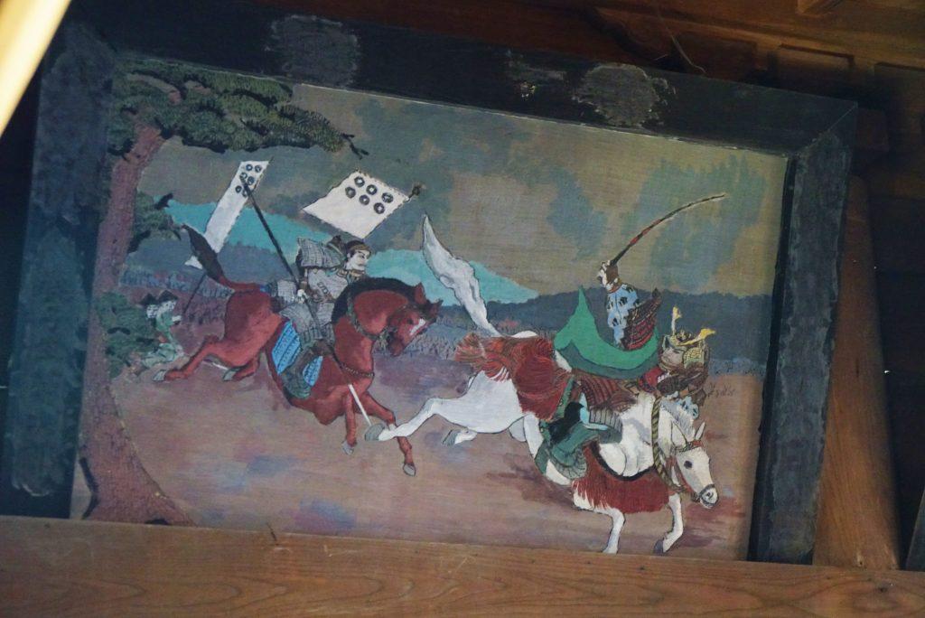 福岡県八女市黒木町湯辺田95 釜屋神社の楠 拝殿内の絵画 戦国時代