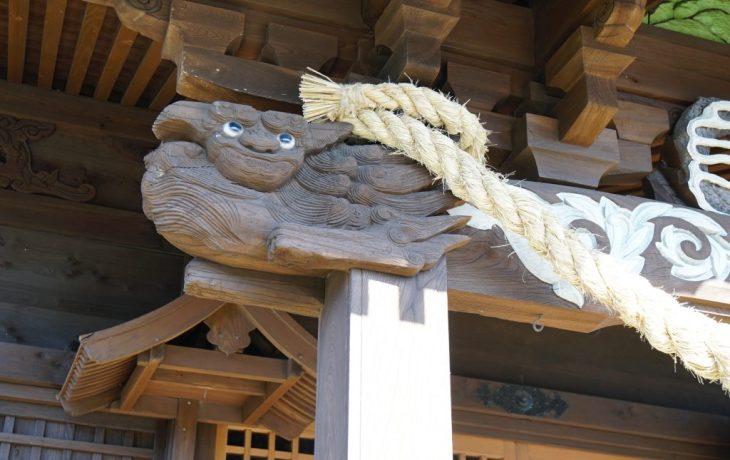 福岡県八女市津江 花宗神社 木鼻 獅子の彫刻