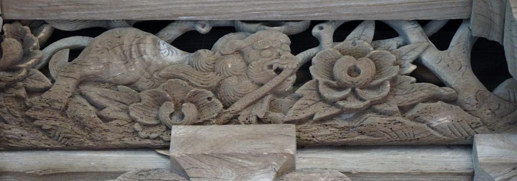 福岡県柳川市三橋町藤426-3 風浪神社 唐獅子牡丹 髄神門の彫刻