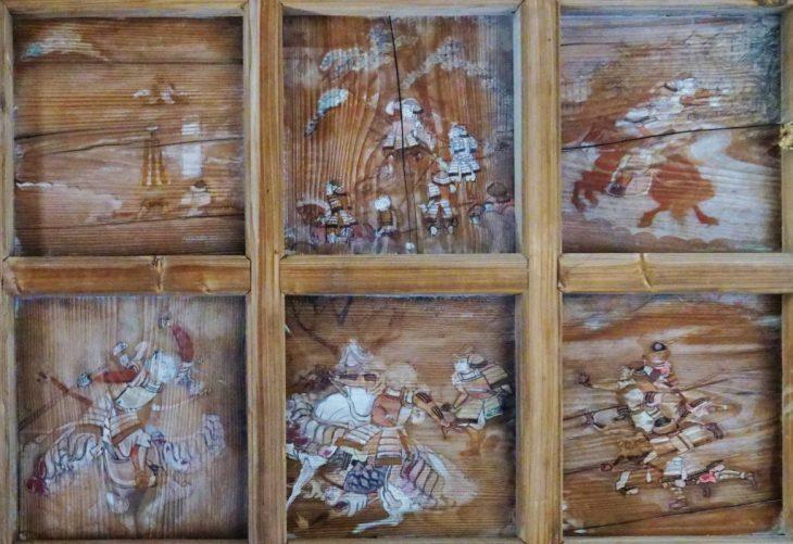 福岡県柳川市大和町鷹ノ尾317 鷹尾神社 拝殿内の天井絵 戦国時代の様子