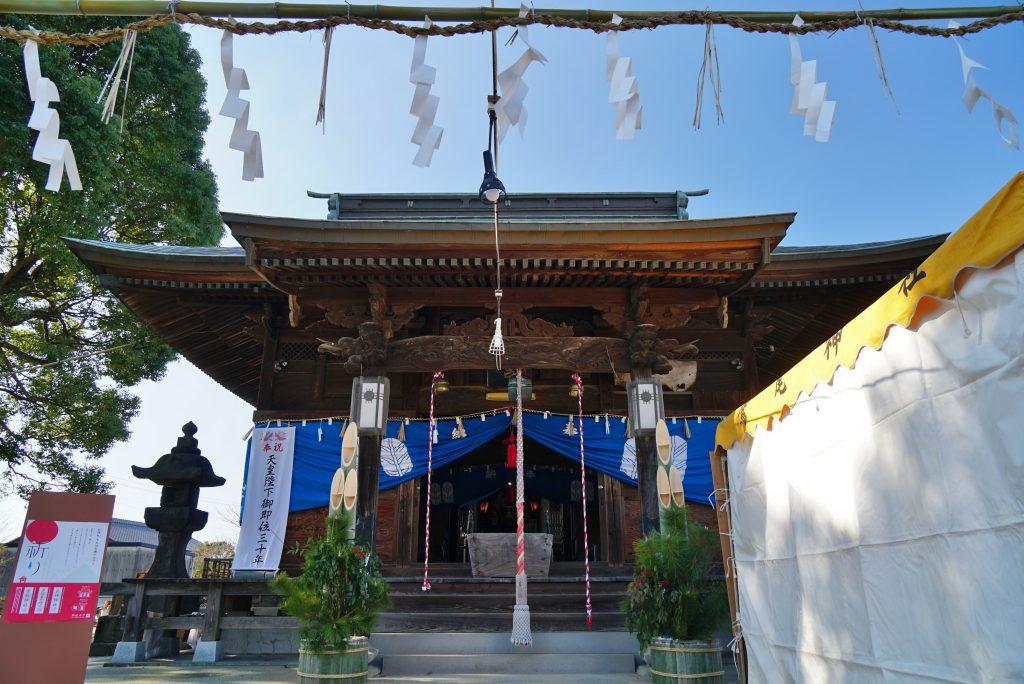 福岡県柳川市大和町鷹ノ尾317 鷹尾神社 拝殿 お正月の名残り