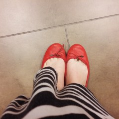 I live in these red flats from Gap.