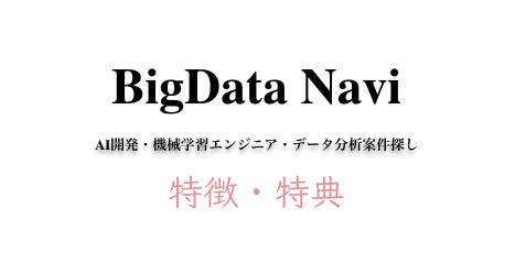 特典・特徴等【口コミ・評判も気になる】ビッグデータナビをチェック - AI案件未経験からの機械学習求人探し等
