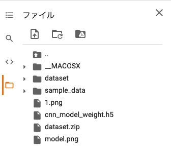 実行中のGoogle Colaboratoryの「ファイル」内に保存:機械学習Keras・Python・CNNモデル