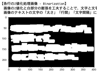 文字検出:膨張処理の工夫で行矩形の推定