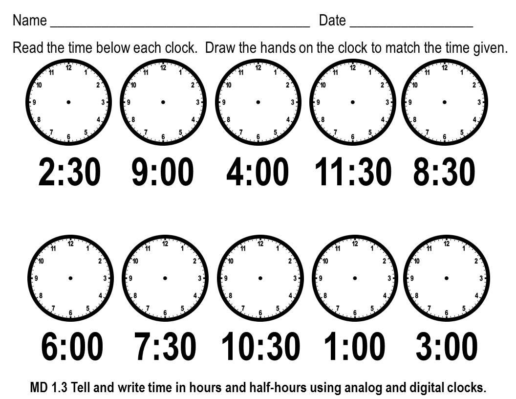 1st Grade Clock Worksheets – Worksheets for Kids [ 816 x 1056 Pixel ]