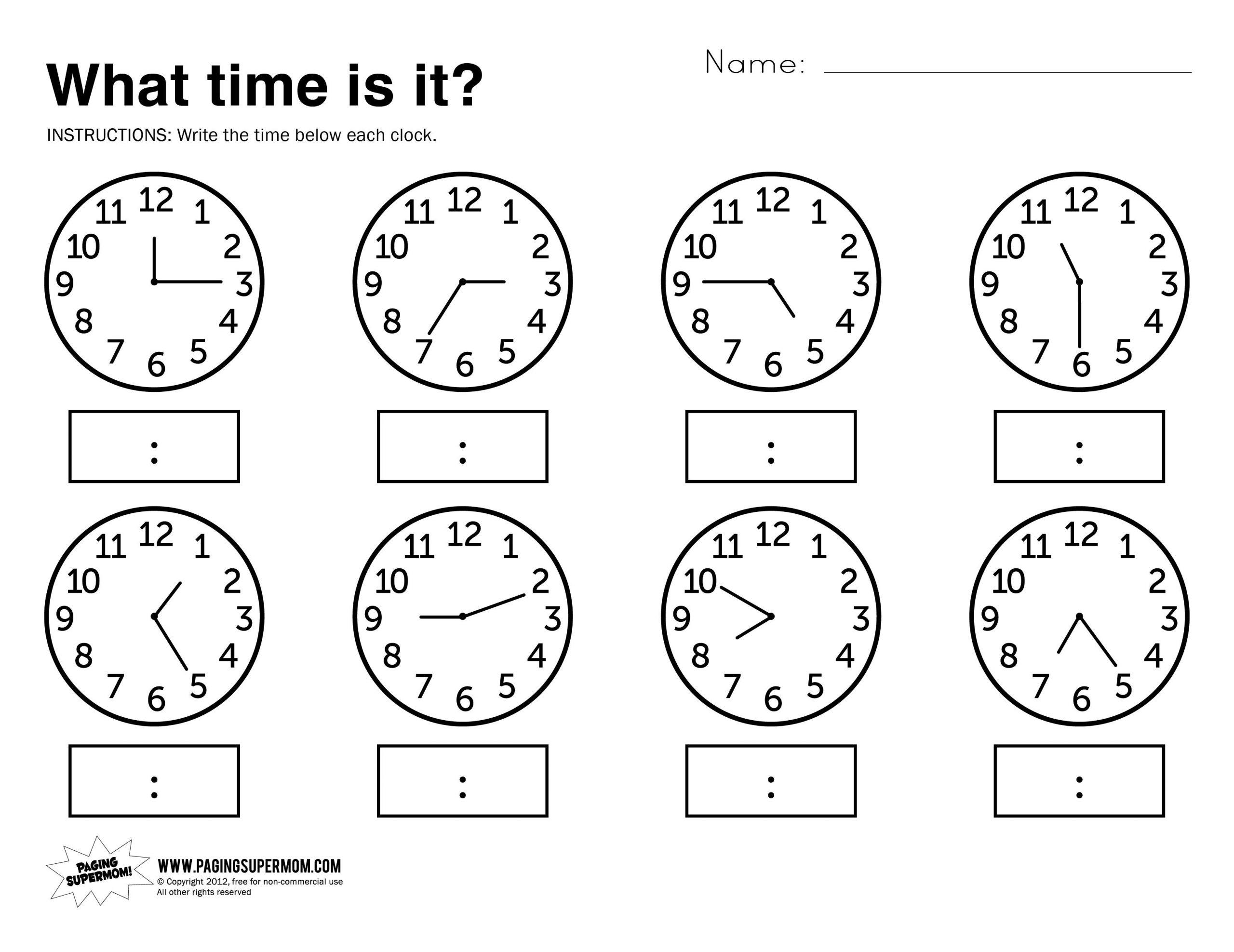 hight resolution of 1st Grade Clock Worksheets – Worksheets for Kids