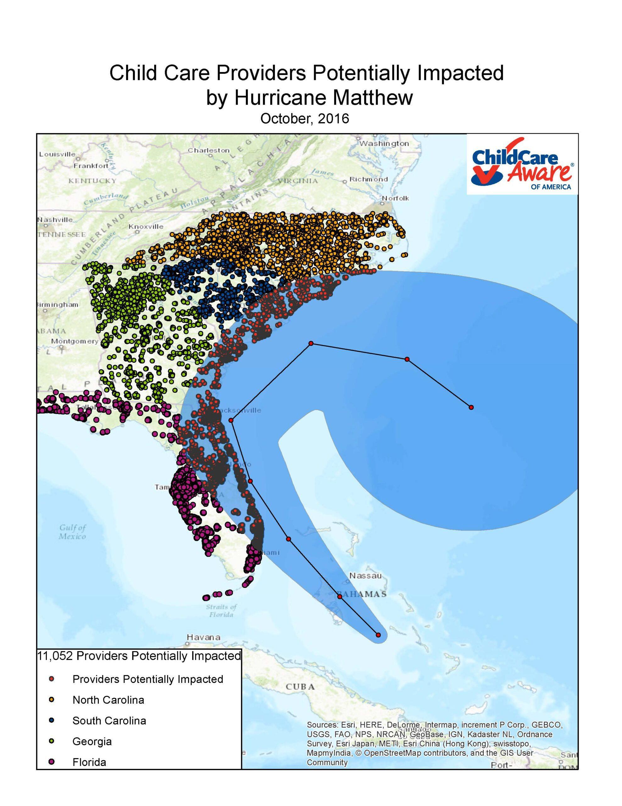 Hurrican Matthew Map : hurrican, matthew, Hurricane, Matthew, Child, Aware®, America