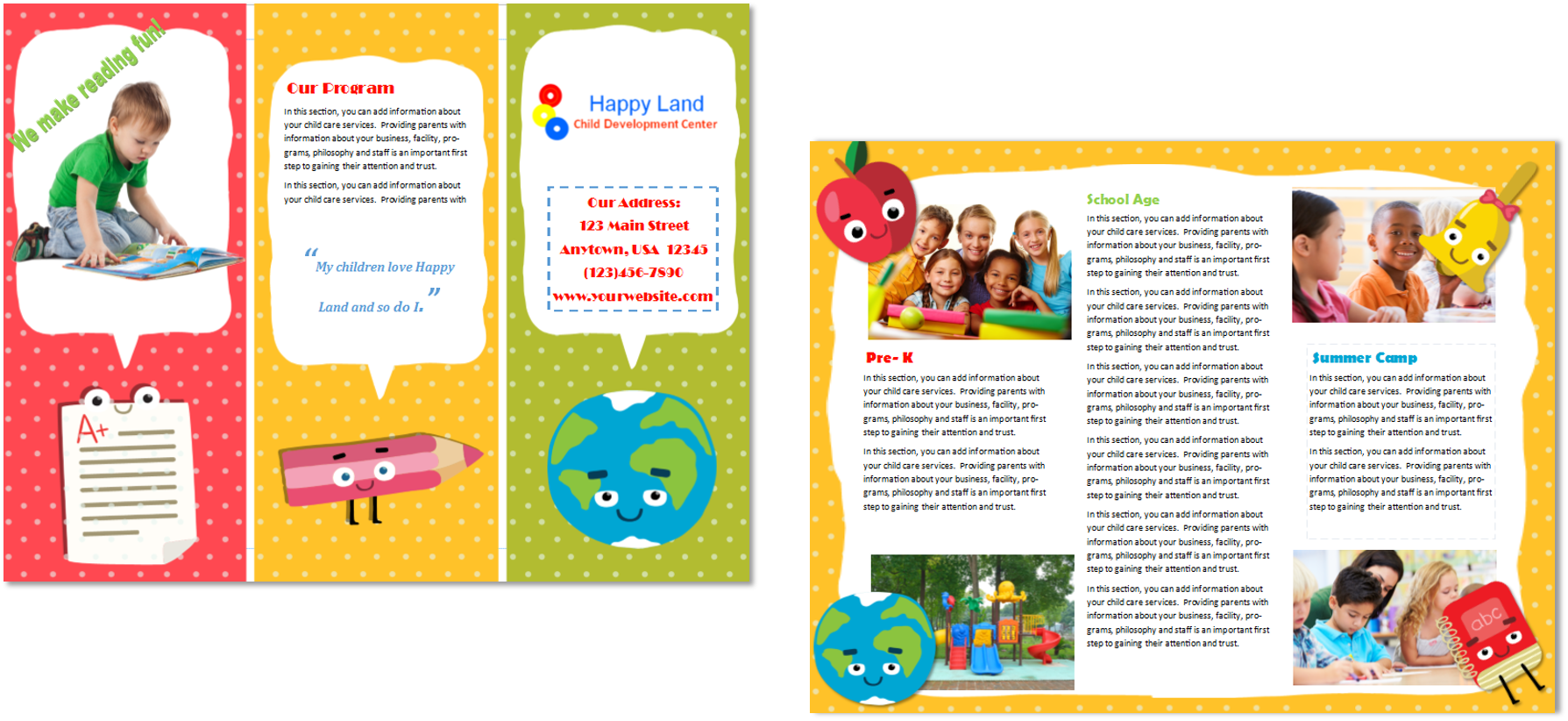 Child care brochure template 22 child care owner for Preschool brochure template