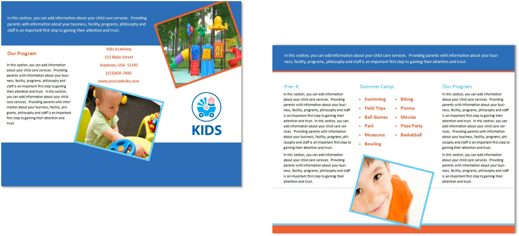 Child care brochure template 30 child care owner child care business cards child care folders child care marketing preschool marketing magicingreecefo Image collections