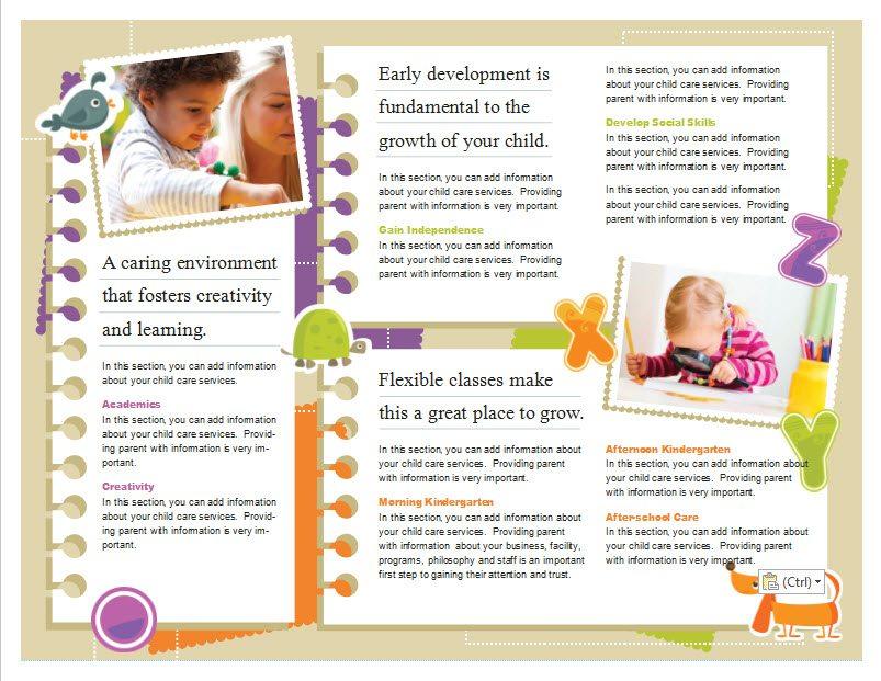 Best Preschool Flyer Template Pictures Inspiration Resume Ideas - Child care brochure template