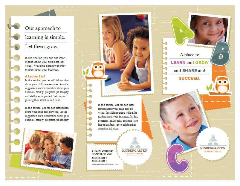 Child Care Brochure Template 5 Child Care Owner – Kindergarten Brochure Template
