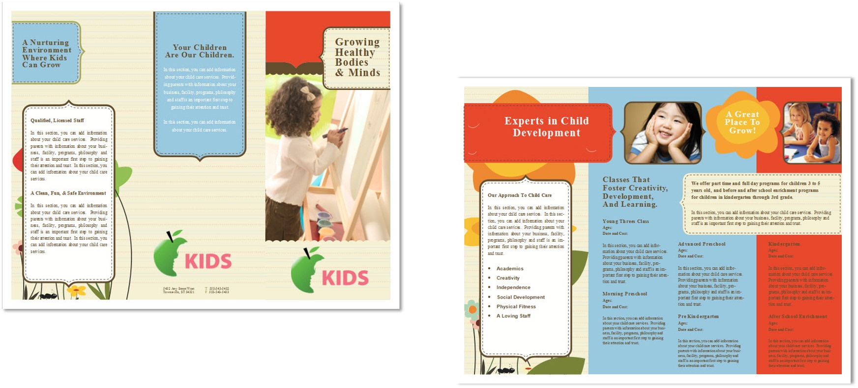 Child care brochure template 6 child care owner for Daycare brochure template