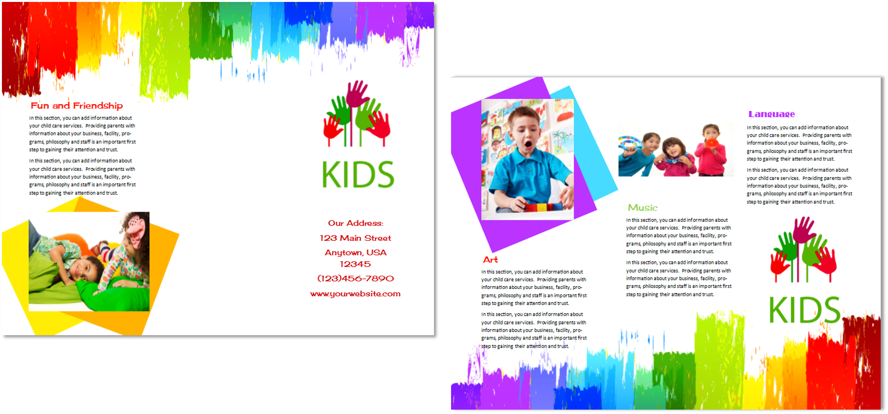Child care brochure template 9 child care owner for Daycare brochure template