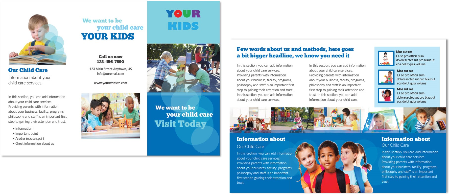 Child care brochure template 4 child care owner for Marketing brochures templates