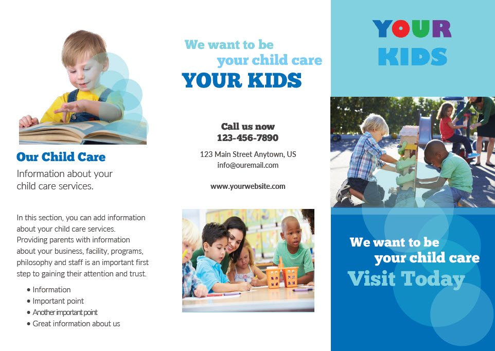 Child Care Brochure Templates Images - Template Design Free Download