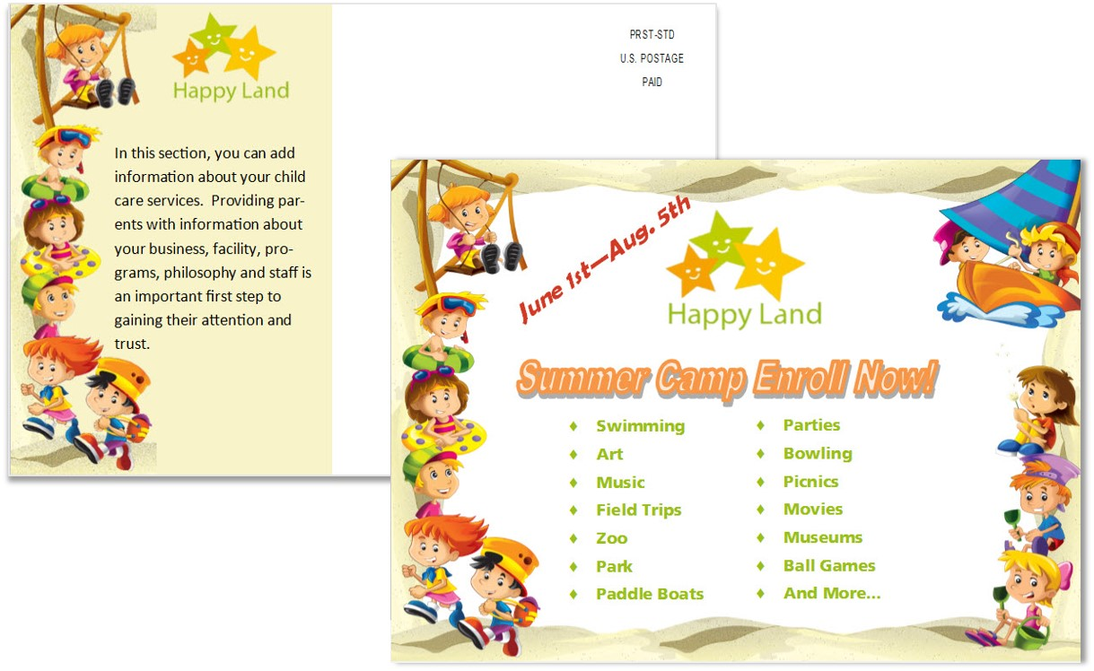 Child Care Postcard Template 8 - Child Care Owner