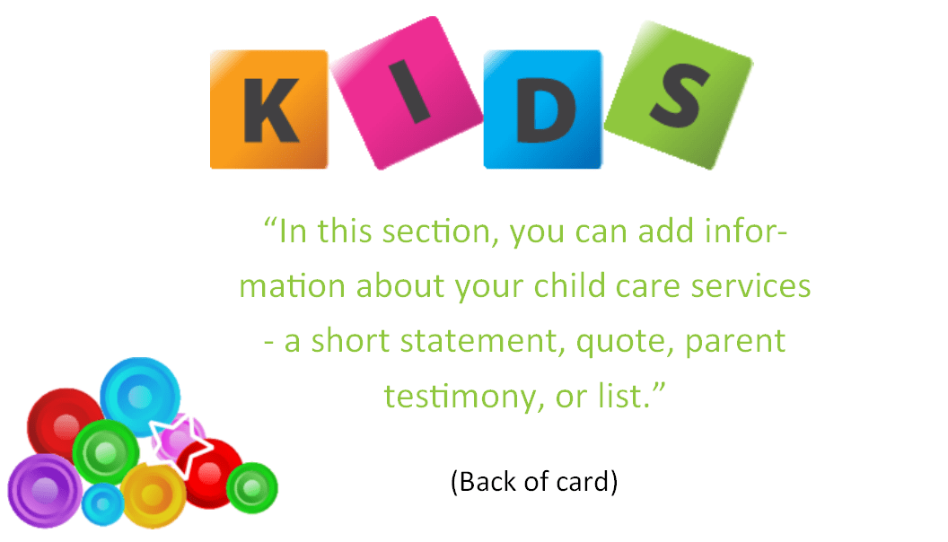 Child Care Business Cards - Template 7 - Child Care Owner
