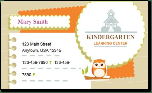child care business cards template 5 child care owner. Black Bedroom Furniture Sets. Home Design Ideas