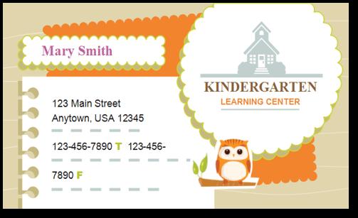 child care business cards child care folders child care marketing preschool marketing