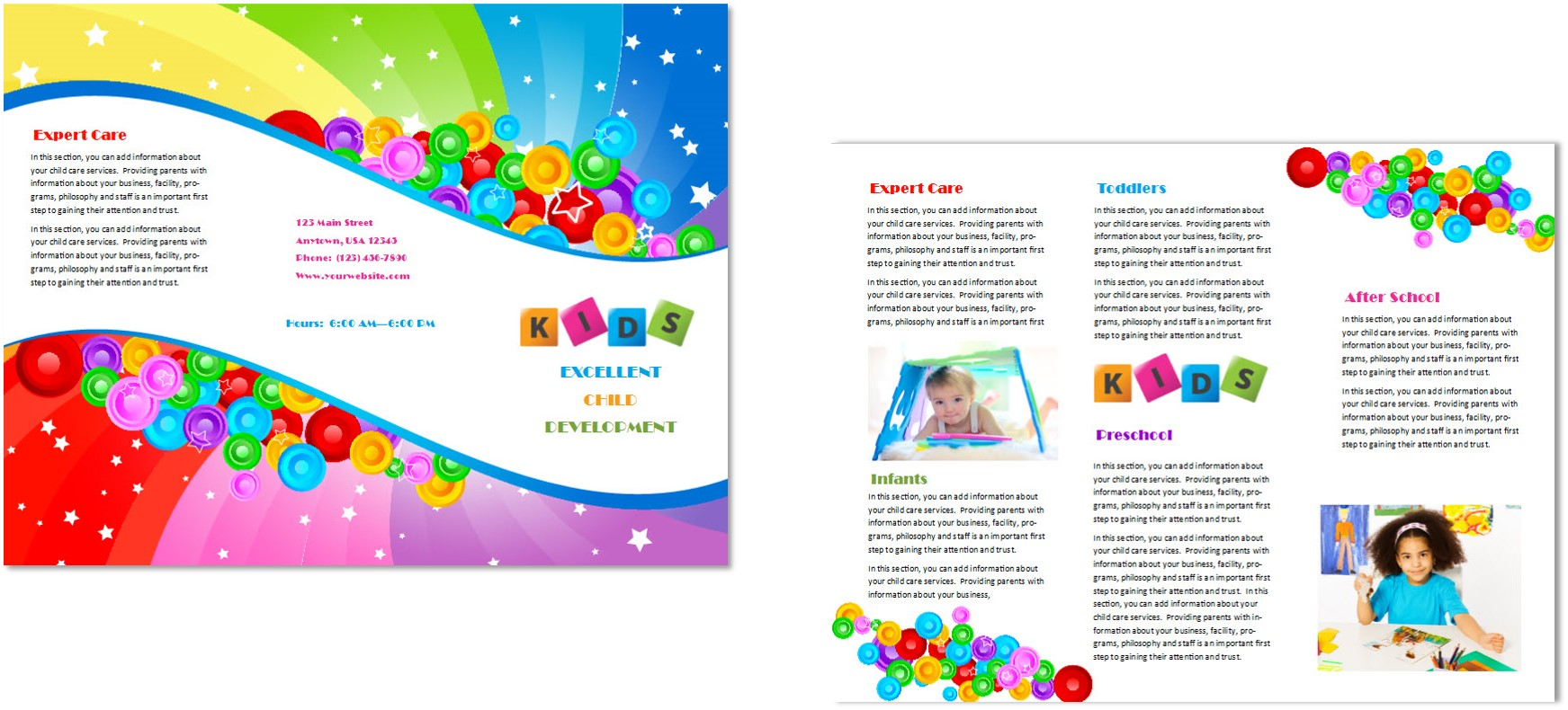 Child care brochure template 7 child care owner for Brochure samples templates