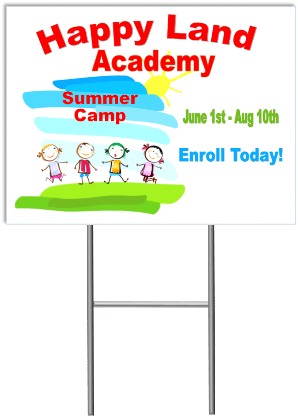 Summer Camp Yard Sign Template 2 with stand medium