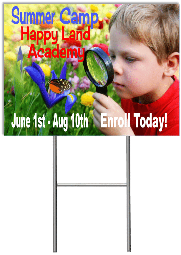 Summer Camp Yard Sign Template 3 with stand medium