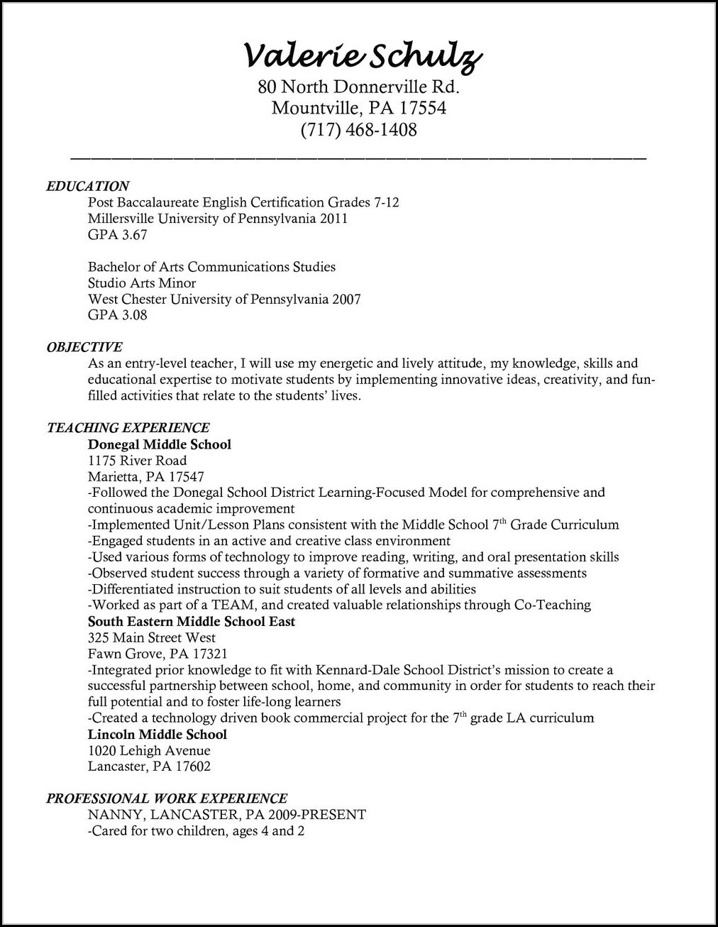 Teaching Resume Templates Free Teaching Resume Templates Microsoft Word Template 2