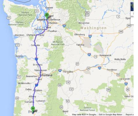 map eugene to seattle
