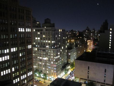 New York City night time rooftop view