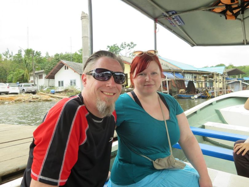 Boat ride to soft shell crab farm restaurant, Chanthaburi Thailand