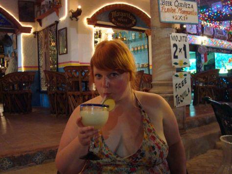 Enjoying a tasty margarita in Mexico