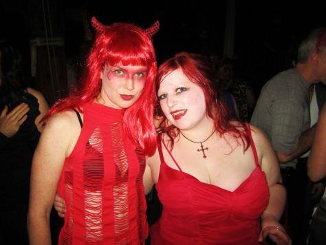 homemade Halloween costume devil and vampire